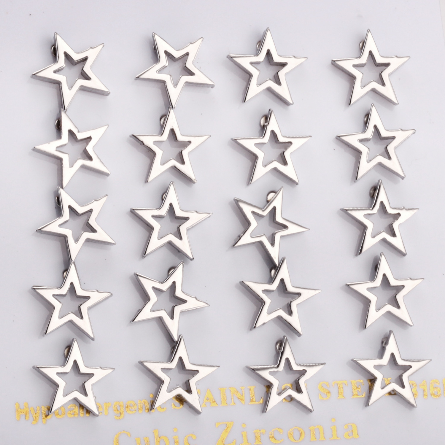 High Quality Star With Froste Stainless Steel Stud Earrings For Men And Women, Gold And Steel
