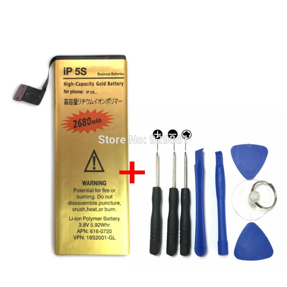 1 pcs 3.8 v 2680 mah Li-ion Batterie + Tournevis Outils pour Apple iPhone 5S mobile téléphone