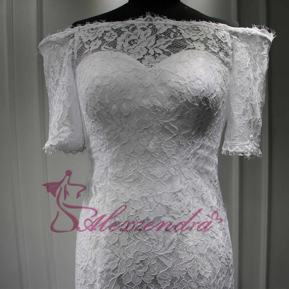 5ef50f1bd9 Custom Made New Short Sleeves Lace Mermaid Wedding Dress vestidos de noiva  Off the Shoulder Bridal Gowns Wedding Gowns for Bride