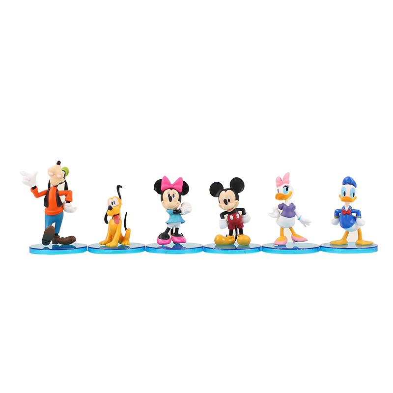 6Pcs/Lot Cute Mickey Donald Duck Minnie Cartoon Micro Birthday Toy Action Figures goofy dog pluto dog daisy Kid The Best Gifts image