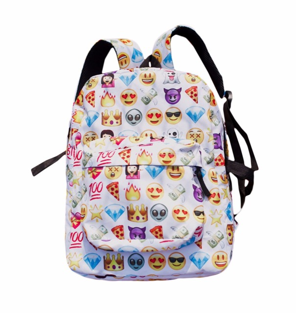 Fashion Women S Travel Backpack Emoji Shoulderschool Book Bag Rucksack White