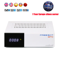 1 Year Europe 7 Clines Server Spain Freesat GTC Satellite Receiver DVB T2 S2 C ISDBT