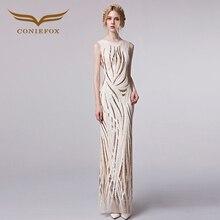 Coniefox 31299 Noble Elegante Bordado de Lujo Vestidos de Noche 2016 Vestidos de Noche de Las Mujeres Formal Vestido longo robe de soirée