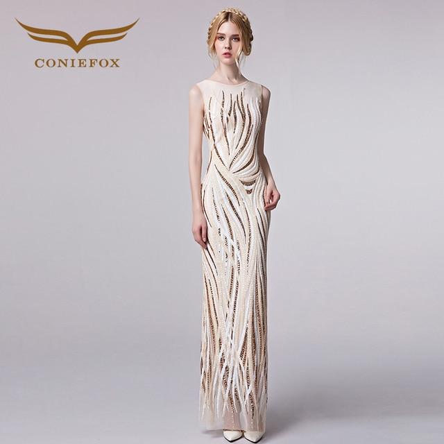 Coniefox 31299 Noble Elegant Embroidery Luxury Evening Gowns 2018 Evening Dresses Women Formal Dress robe de soiree  longo