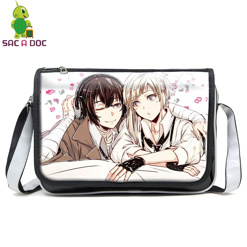Bungou Stray Dogs Messenger Bag Atsushi Dazai Pu Leather Handbags for Teenage Girls Boys Crossbody Shoulder Bags Travel Handbag