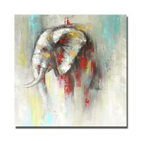 Indian elephant hand paint wild animal oil painting knife on canvas realistic animal wall picture home decor artpainting