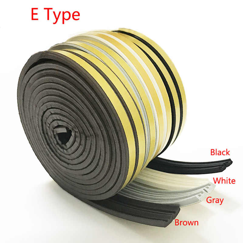 E-type 5m Doors And Windows Seal Strip Soundproof Strip Self-Adhesive Foam Rubber Super Glue Soundproofing Weatherstrip Top