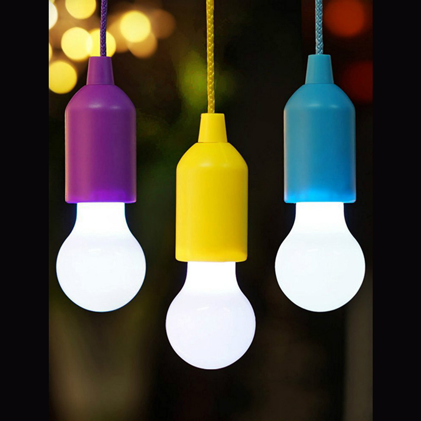 Portable Colorful Pull Cord LED Light Bulb Outdoor Street Retro Lighting Tent Camping Garden Hanging Night Lights Emergency Lamp