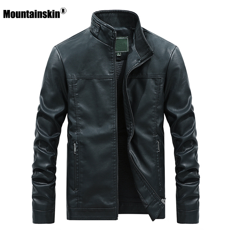 Mountainskin 2020 New Men's Leather Jacket Autumn Winter PU Coats Men Brand Clothing Fashion Business Outerwear Male Coat SA710