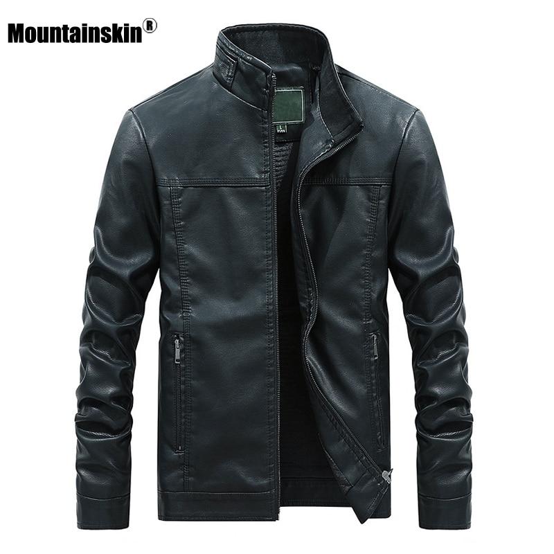 Mountainskin 2020 New Men's Leather Jacket Autumn Winter PU Coats Men Brand Clothing Fashion Business Outerwear Male Coat SA710