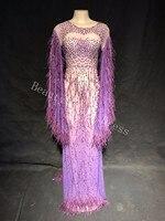 Sparkling Rhinestone Mesh Dress Women's Evening Sexy Luxurious Dresses Prom Birthday Celebrate Outfit Wedding Singer Costume DJ
