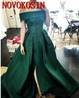 Sequins Green Split Evening Dresses Satin 2019 Plus Size Bateau Neck Arabic Party Prom Dress Formal Pageant Gowns Robe De Soiree