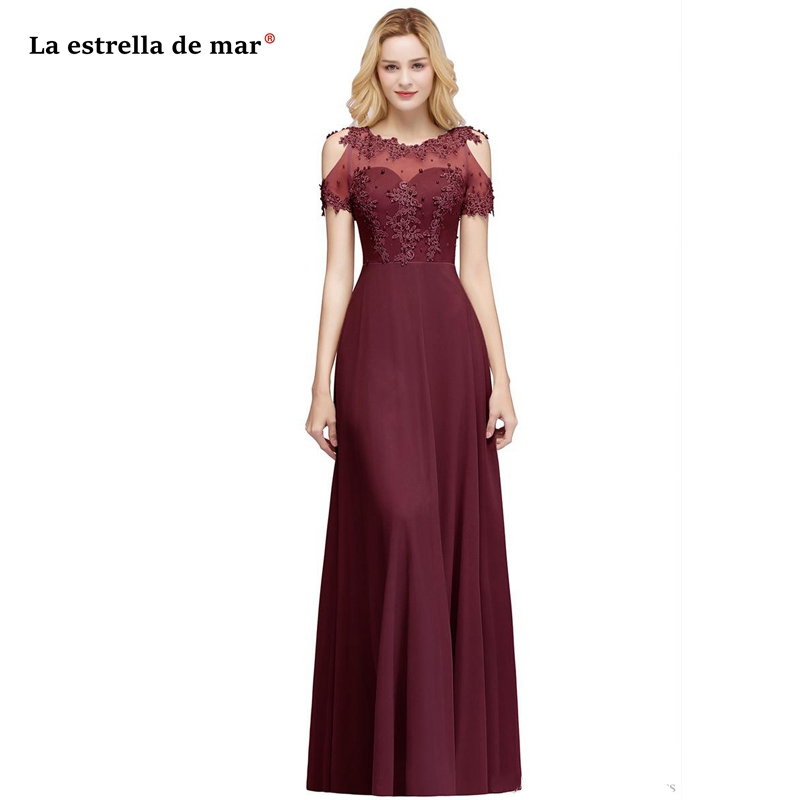 Wedding Party Gown New Scoop Neck Lace Beaded Chiffon Short Sleeve A Line Burgundy Silver Grey Mother Of The Bride Dresses Long