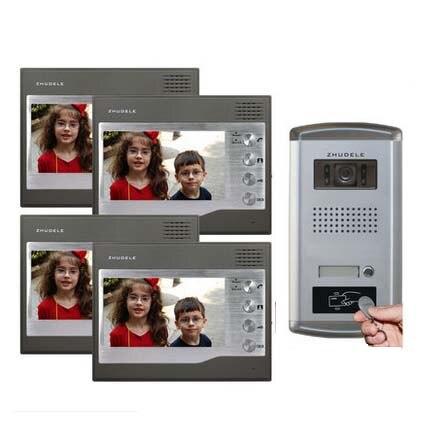 ZHUDELE Home Security Intercom System Interphone 4X7 Video Door Phone Monitor+IR HD IR Camera w/t ID Card Unlocking functio