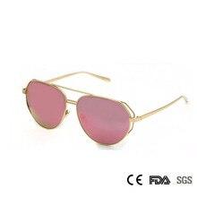 Mujeres de la manera del Espejo gafas de Sol de Piloto gafas de Sol de Cristal para Las Mujeres con Baño de Metal Gafas de Sol UV400 gafas de sol de Verano Gafas de Color Rosa