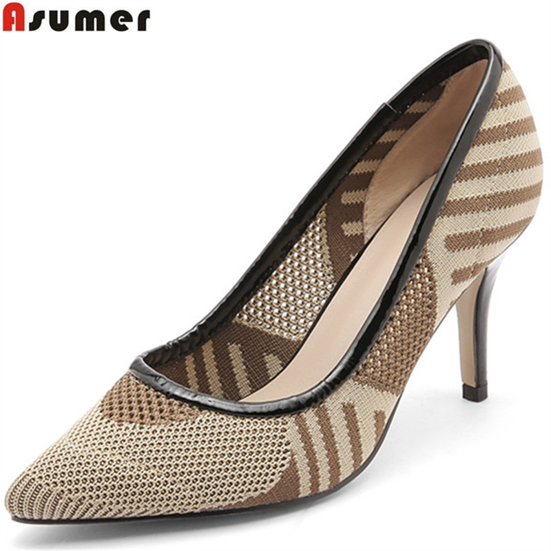 ASUMER apricot fashion 2018 new arrival shoes woman pointed toe elegant pumps women shoes shallow high heels shoes size 34-42 asumer 2018 summer new arrival women