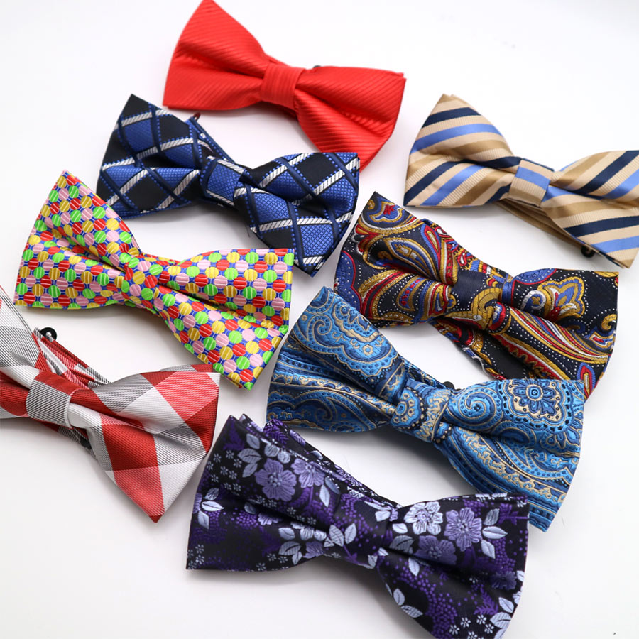 Adjustable LARGE Men's Polyester Silk Bow Tie Gentleman Butterfly Bowties Wedding Business Striped Plaid Checks Bow Neckties