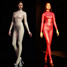 Plus size Latex Pantyhose Full Body Long Sleeve Jumpsuit Women Open Crotch Rompers