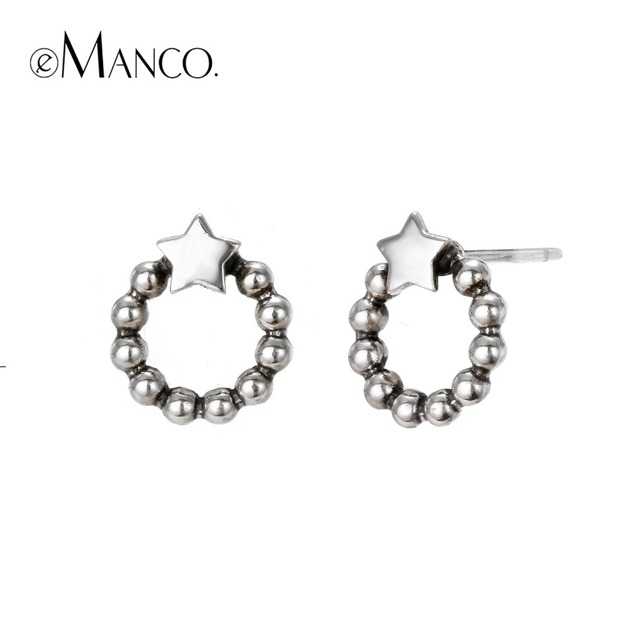 e-Manco 925 Sterling Silver Round Earrings Elegant Silver Party Prevent Allergy