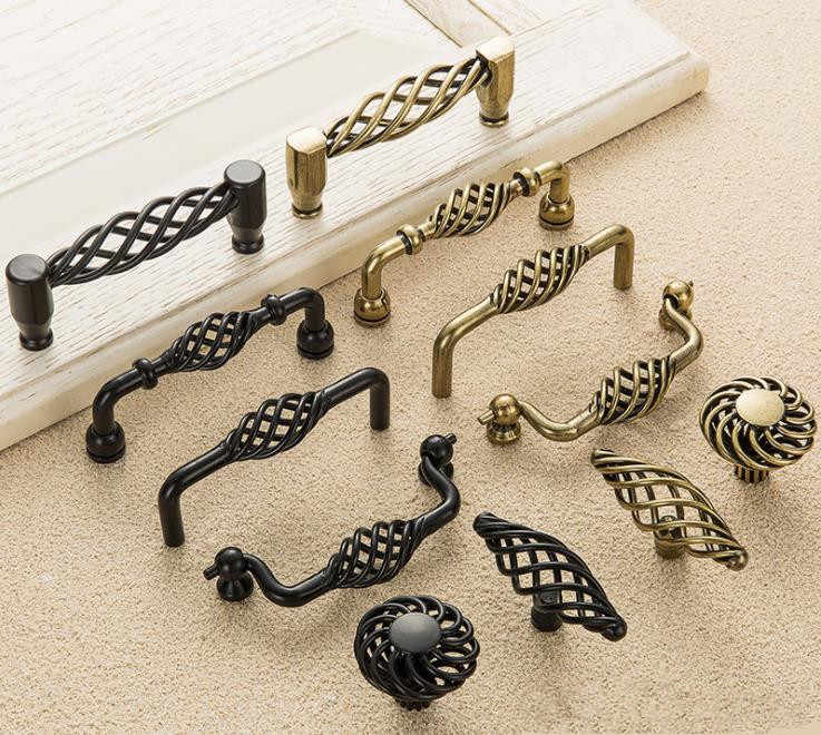 FAST SHIPPING Antique Style Bird Nest Cabinet Door Knobs Dresser Knob Handles Pulls European Style Kitchen Hardware 96  128mm