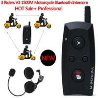 2 STKS V3 1500 M 3 Riders Bikers Skiërs Motorhelm BT Intercom Bluetooth Headset Waterdicht Interphone Handsfree Voor Telefoon