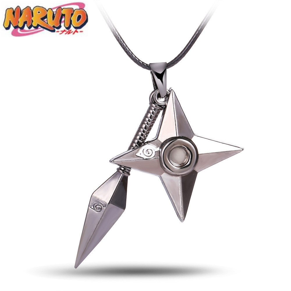 Anime NARUTO Uzumaki Naruto Cosplay Prop Weapons Kunai Shuriken Throwing Darts Metal Keychain Pendant Necklace Ornaments Toy New