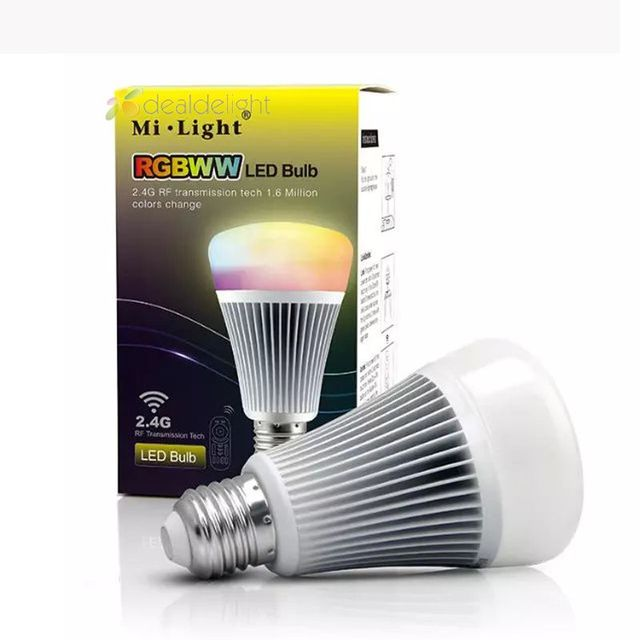 wholesale 10pcs MiLight 2.4G Wireless E27 8W RGB+CCT Smart WiFi LED Bulb RGB + Color Temperature Dimmable 2 in 1 AC85-265V