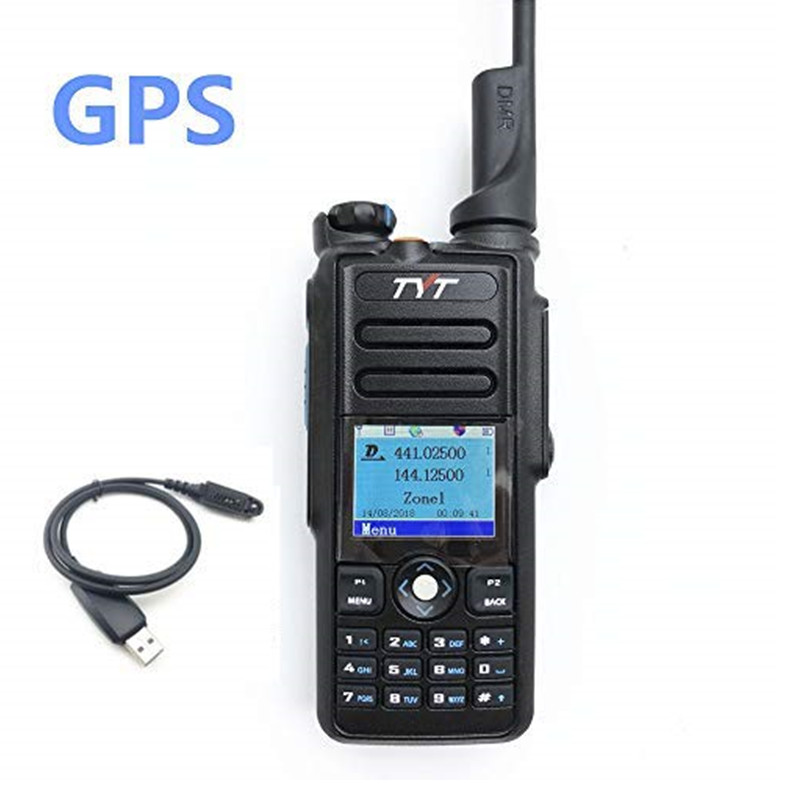 TYT MD-2017 Dual Band DMR Analog Digital Two Way Radio 136-174MHz 400-480MHz Md2017 Color Display With GPS Programming Cable