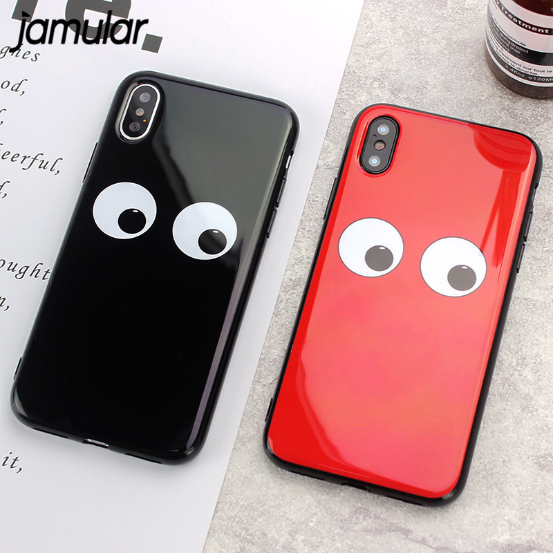 JAMULAR Big Eyes Fitted Case For iPhone X 8 7 6 Plus Cute Cartoon Soft TPU Back Cover For iPhone 7 6 6S Plus Glossy Phone Bag