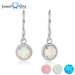 Romantic Round Opal Stone Earring 925 Sterling Silver Drop Earrings For Women Jewelry Anniversary Gift (JewelOra EA103018)