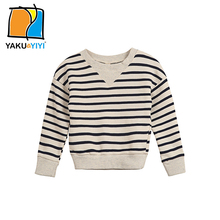 YKYY YAKUYIYI 2016 Brand New Autumn Blue & White Striped Printing Girls Sweatshirt Pullovers Casual Loose Children Clothing