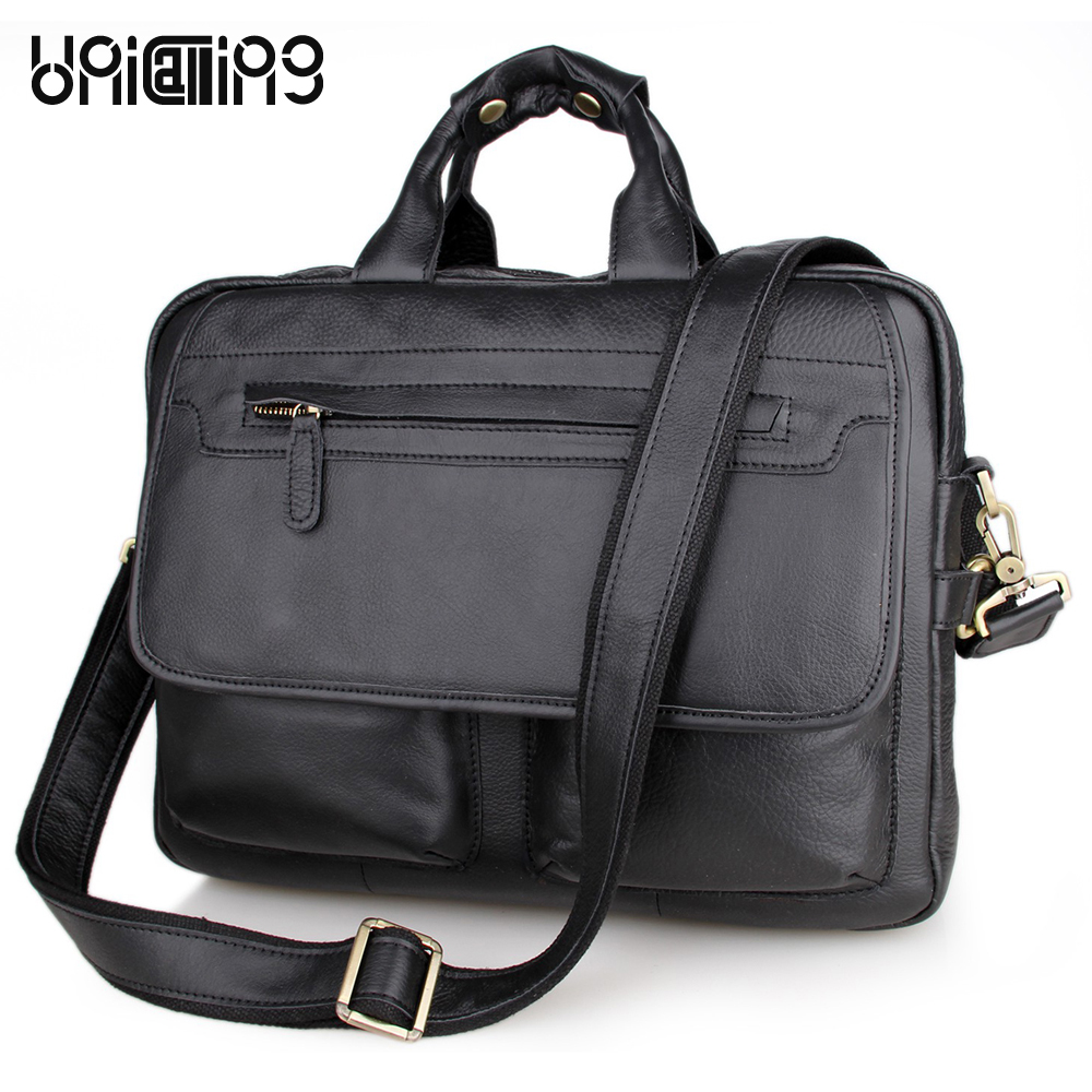 Laptop bag 15.6 inch leather handbag men quality genuine leather business bag double-zipper cow leather male bag UniCalling