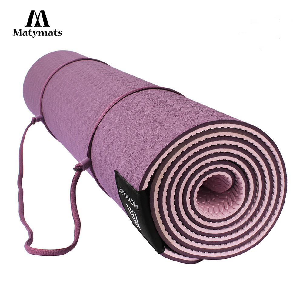 Matymats Non Slip TPE Yoga Mat for Hot Yoga Pilates Gymnastics Bikram Meditation Towel-High Density Thick 1/4'' Durable Mat 72'' gymnastics mat thick four folding panel fitness exercise 2 4mx1 2mx3cm