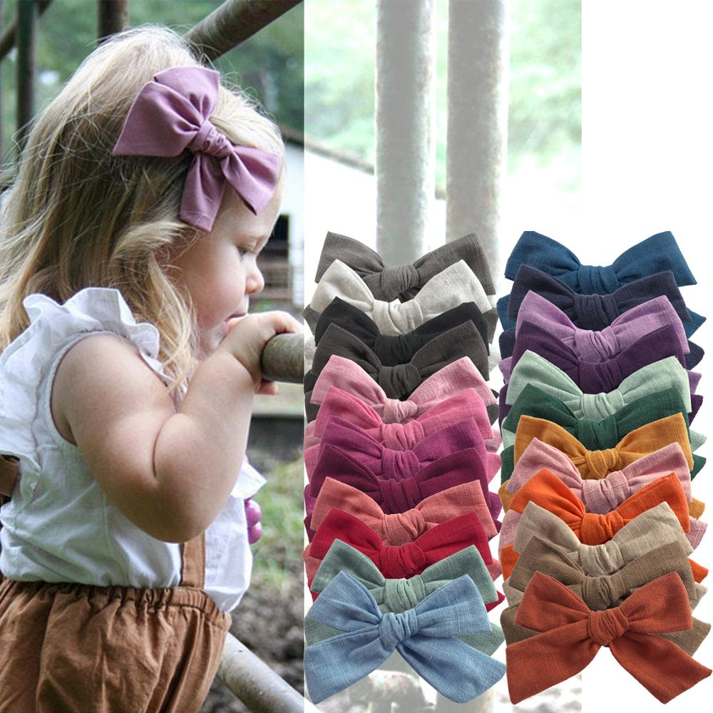 BEILARRY 2 PCS 4-inch Cotton Fabric Bow Clips Baby Girls Hand Knot Hair Bow Clips Barrettes Hairgrips Headwear Hair Accessories