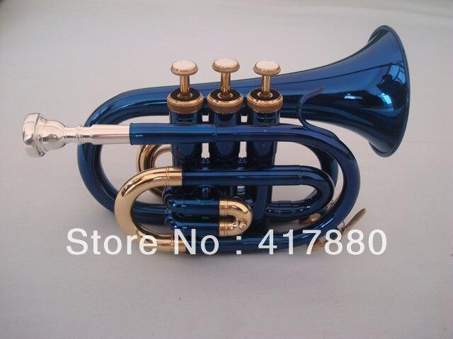 Trompette de poche professionnelle en plaqué or bleu Boquilla Para Trompeta Trompeta d'instruments de musique professionnels