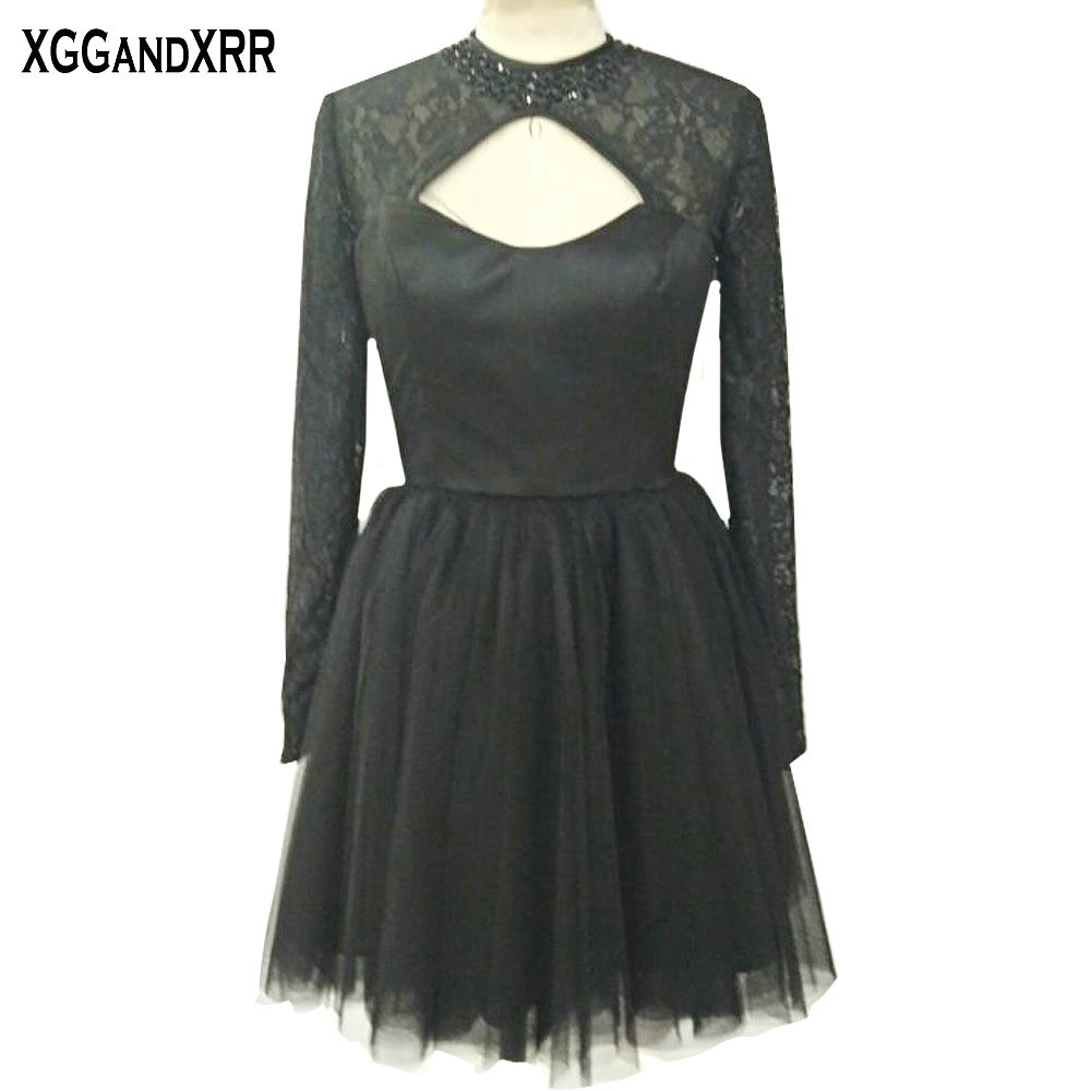 Charming Black Tulle A-Line   Cocktail     Dresses   Long Sleeves Scoop Appliques Beaded Hollow Back Prom   Dresses   For Formal Party