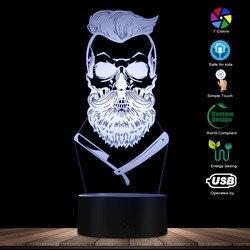 Парикмахерская череп 3D Оптические иллюзии светильник Hipster Скелет Парикмахерская бритья светодиодный Ночной светильник в виде усов стол с ч...