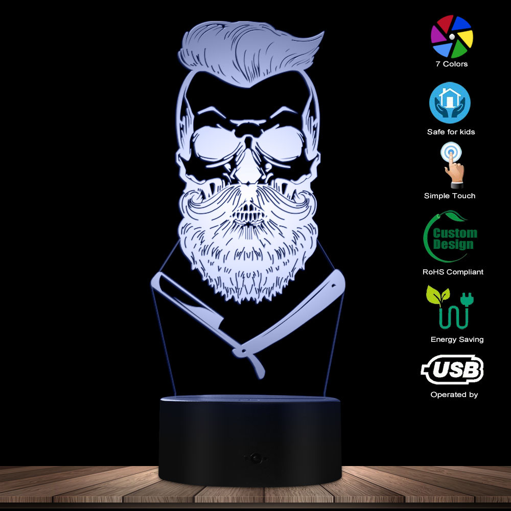 Barber Skull 3D Optical Illusion Light Hipster Skeleton Barber Shop Shave LED Night Light Mustache Skull Table Visual Lamp Sign