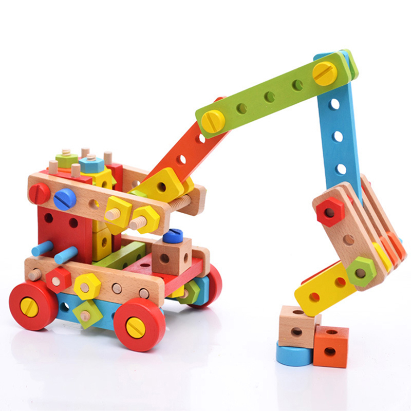 Wooden Variety Nut Combination Building Blocks Children's Assembled Demolition Toys 3-4-5-6 Years Old Belt Tool