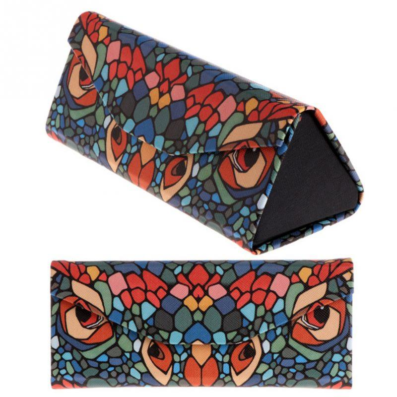 Portable Handmade Cartoon Animal Printing Pattern Foldable Triangular Glasses Case Magnetic Leather Case For Glasses Eyeglass