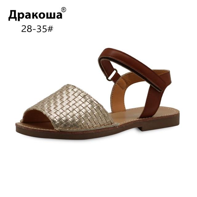 Apakowa Eur 28-35 Летняя мода для больших девочек Тканые Сандалии из искусственной кожи, для детей рыбий рот обувь с открытым носком для пляжа вечерние золото