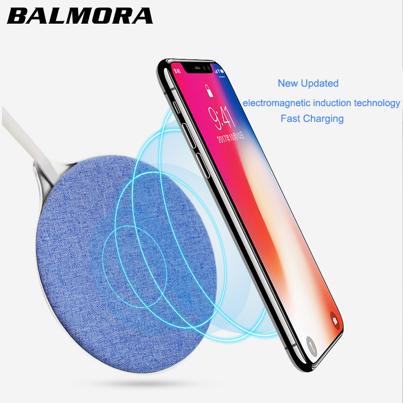 BALMORA QI Wireless Charger For iPhone 8 8plus X Jeans Fabric Fast Wireless Charging Pad For Samsung S6 S7edge S8 S9 plus note 5