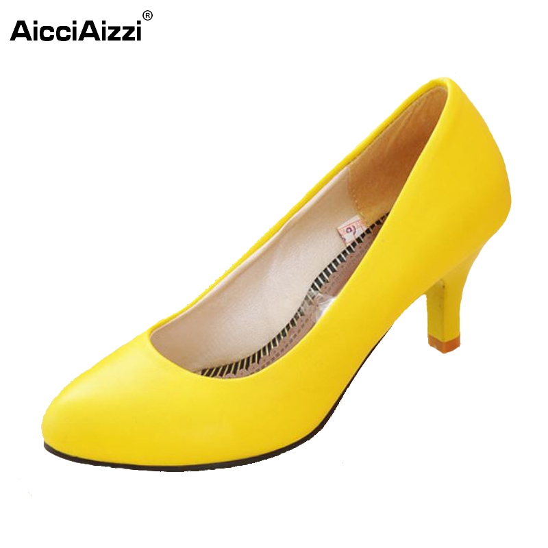 Fashion Sweet Ladies Women Low Mid High Heels Court Office Shoes Pointy Toe Stiletto Work Pump Party Size 35-43