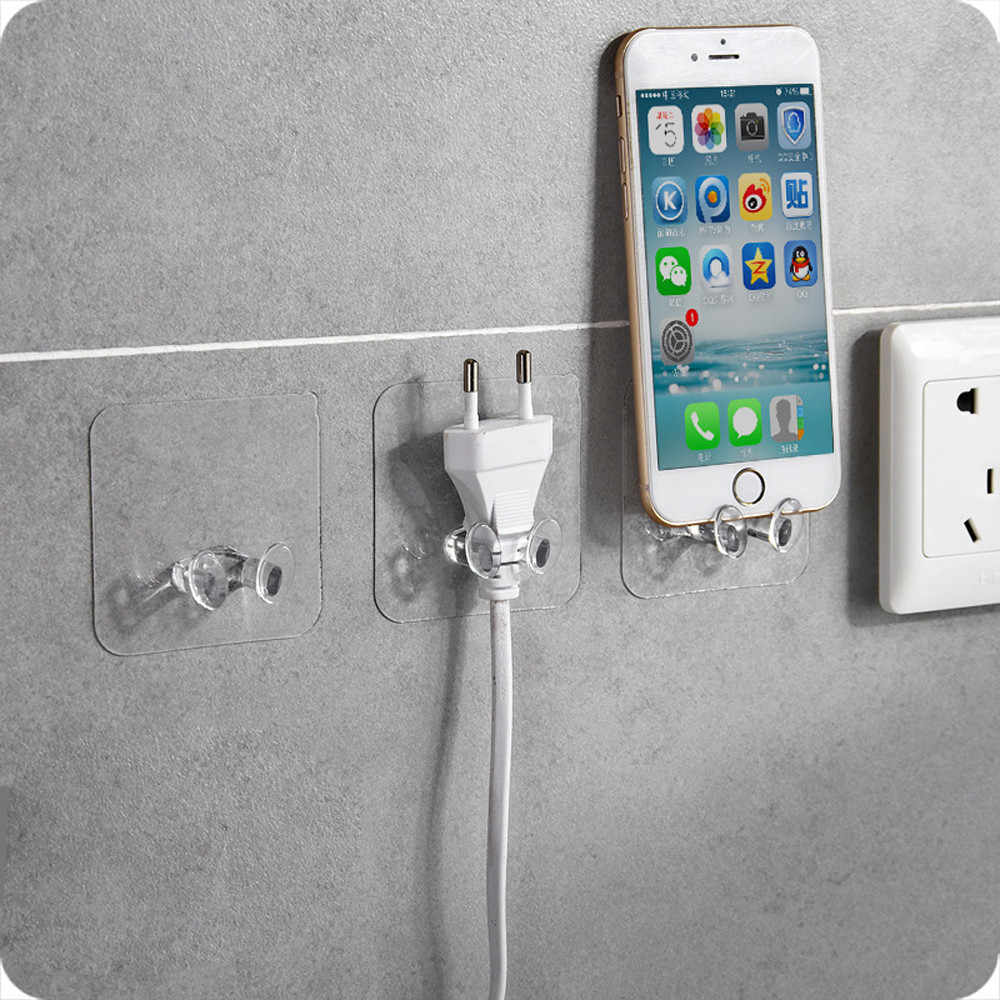 2Pcs Wall Strong Adhesive Hanger Hook Plastic Walls Storage Hooks Power Plug Socket Phone Sundries Holder Kitchen Bathroom F72