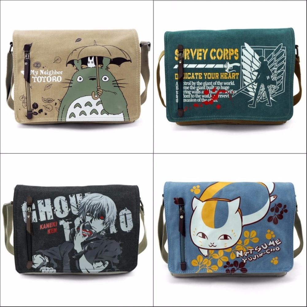 Fashion Totoro Crossbody Bag Men Messenger Bags Canvas Shoulder Bag Cartoon Anime Black Butler School Bag Tote Handbag