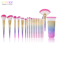 Docolor 18PCS Brand Makeup Brushes Tools Kit Powder Foundation Blush Eye Shadow Blending Fan Cosmetic Beauty