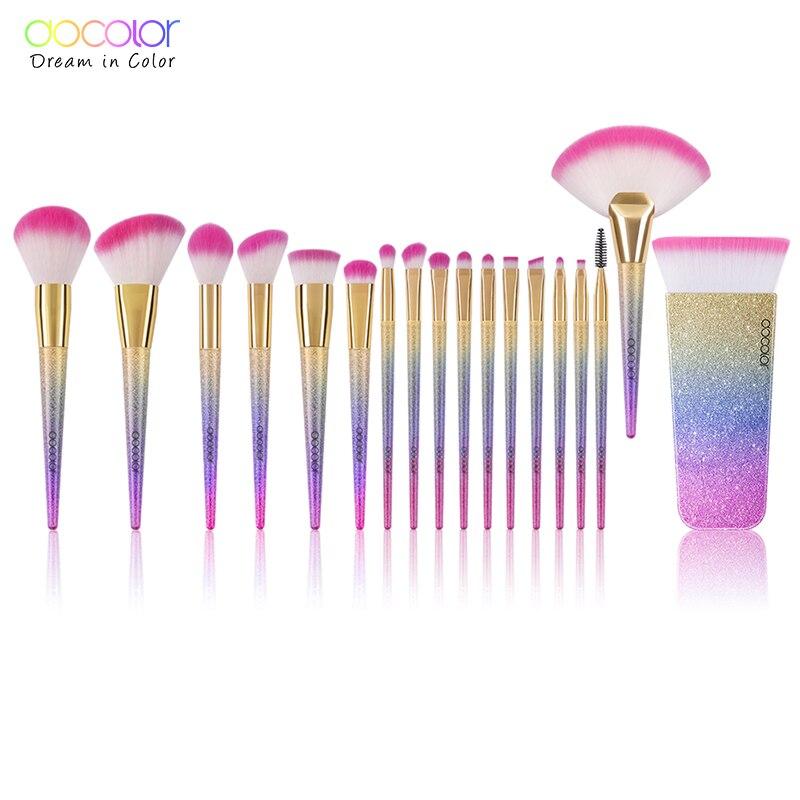 Docolor 18 pcs Marque Maquillage Brosses Outils Kit Poudre Fondation Blush Ombre À Paupières Mélange Ventilateur Cosmétique Beauté Pinceaux de Maquillage