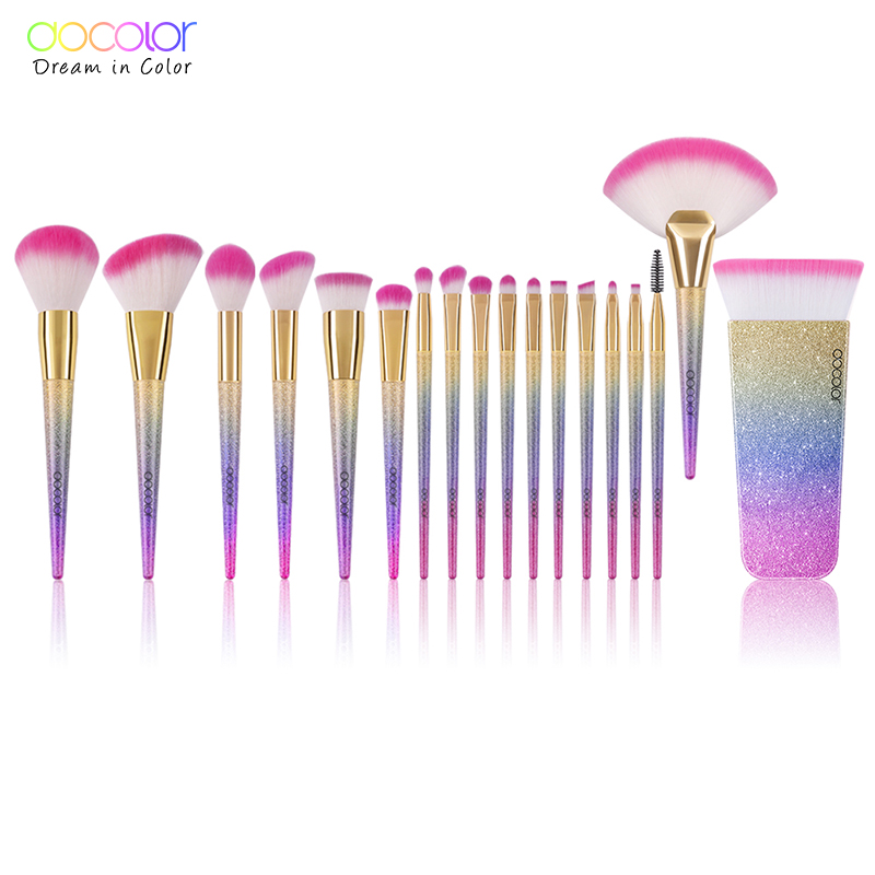 Docolor 18PCS Brand Makeup Brushes Tools Kit Powder Foundation Blush Eye Shadow Blending Fan Cosmetic Beauty Make Up Brushes 10pcs professional makeup brushes set powder foundation eye shadow beauty face blusher cosmetic brush blending tools sx14