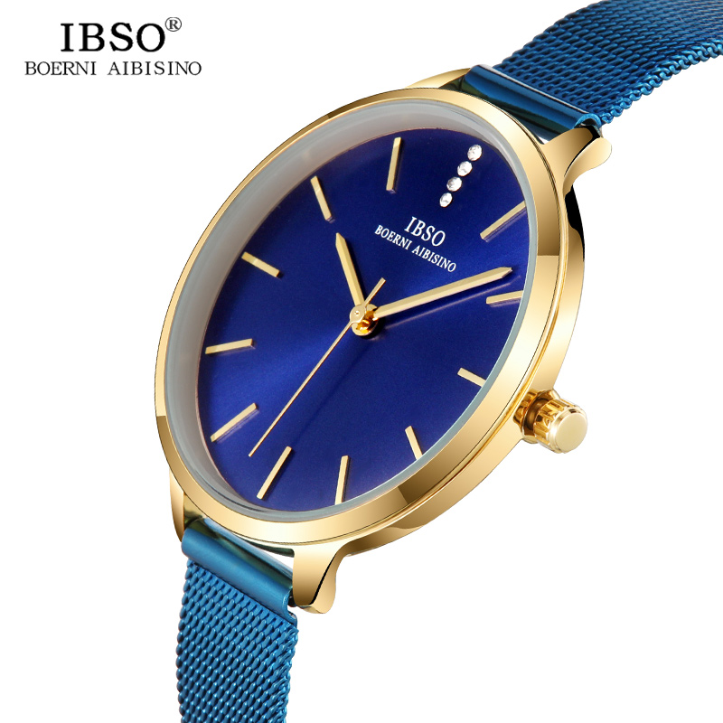 IBSO New Brand Ultra-Thin Quartz Watch Women Blue and Black Stainless Steel Mesh Strap Women Watches 2018 Fashion Montre Femme ibso brand fashion ultra thin quartz watch women stainless steel mesh and leather strap women watches 2018 fashion montre femme