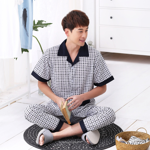 Manufacturers Selling New Spring and Summer Men's Wear Short Sleeved Home Furnishing Knitted Pajamas South Korea Style